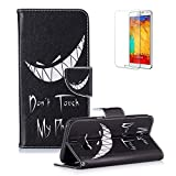 For Samsung Galaxy S8 Case [with Free Screen Protector] Funyye Colorful Scratch Resistant Premium Magnetic Detachable PU Leather Wallet Style Cover with [Credit Card Holder Slots] Full Body protection with Stand Folio Book Style Ultra Thin Nice Drawing Patterns Protective Case Cover Skin for Samsung Galaxy S8 -Mad Smile:Don't Touch My Phone