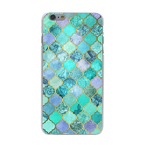 0.875 Medallions - Teal Blue Trellis Floral iPhone 7 Case Luxury Medallion Flowers Geometric iPhone 7 Cover Cute Paisley Mandala Print iPhone 7/8 Back Case Moroccan Style Girls Women Fashion Shockproof Slim Soft TPU