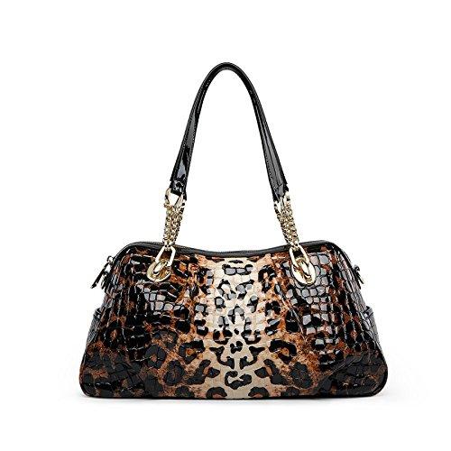 WenL Patrón De Cocodrilo De Damas Bolso De Hombro Bolso De Cuero Grande,Leopard Leopard