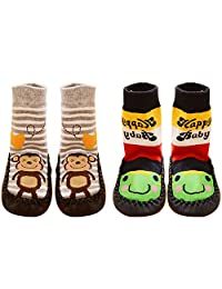 2 Pair Cute Thickened Cotton Baby Kids Boys Girls Socks Shoes Boots Slipper Floor 15cm Sole Set C Size L