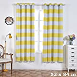 64 panel curtain - BalsaCircle 52 x 84-Inch Yellow Cabana Stripe Window Drapes Curtains 2 Panels with Grommet Top - Home Decor Decorations