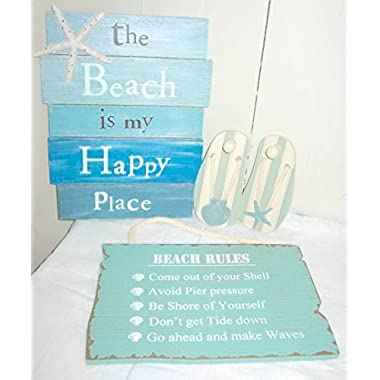 The Beach Is My Happy Place Sign - Beach Rules Sign - Pair of Sandal Wall Hooks 4 Pc Beach Bundle