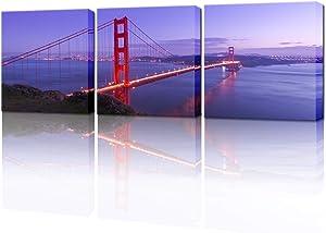 VividHome 3 Piece Bridge Canvas Wall Art Stunning San Francisco Golden Gate Bridge Landscape Canvas Prints for Office Decor Living Room Decoration Ready to Hang