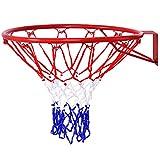 Goplus Basketball Rim Indoor Outdoor Hanging Basketball Goal with All Weather Net Wall Mounted Basketball Hoop 18''
