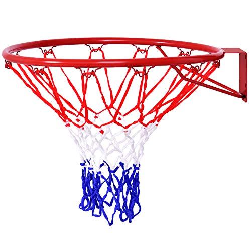 Goplus Basketball Rim, Basketball Net, Indoor Outdoor Hanging Basketball Goal with All Weather Net Wall Mounted Basketball Hoop 18''