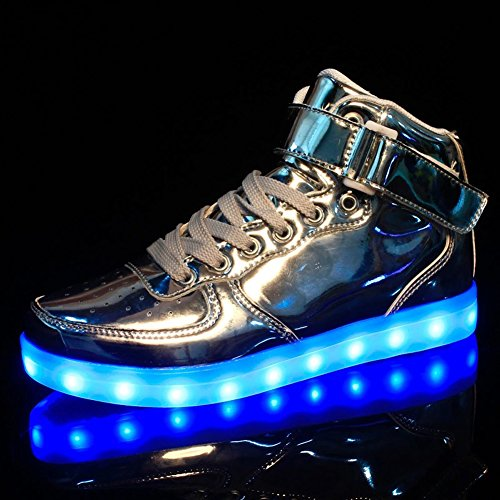 Flashing USB Unisex Shoes LED High Silver Dear Top Charging Queen Sneakers 7qFf8