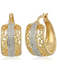 Sterling Silver Diamond Accent Filigree Hoop Earrings with Yellow Gold Overlay