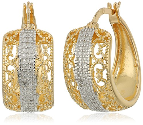 Yellow Gold Plated Sterling Silver Diamond Accent Filigree Hoop Earrings