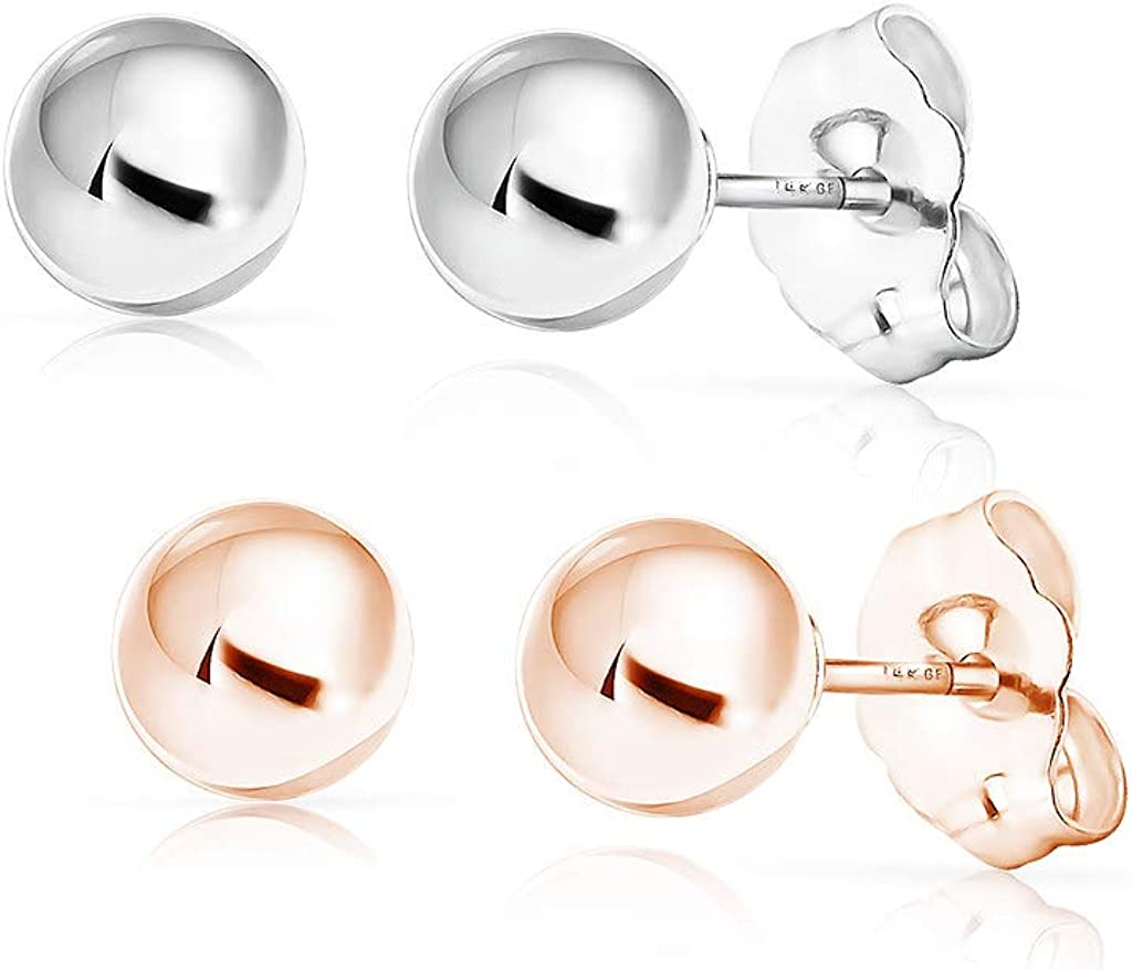 SOLIDGOLD - 14K Gold Filled 6mm Ball Stud Earrings 2-3 pair set | Yellow, Rose & White Gold