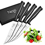 Steak Knives Nego - 4 Piece Steak Knife Set, 4.5 Inch Edge Blade Pointed Tip Table Knife German HC Stainless Steel Razor Sharpness Rust Protection Lightweight Neatly Slicing Classic Kitchen Cutlery