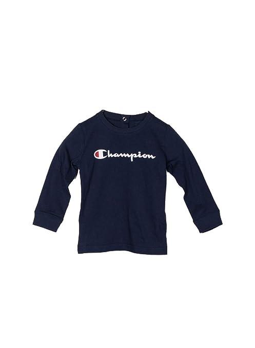 Champion Long Sleeve Crewneck T-Shirt, Camiseta de Manga Larga para Niños, Azul