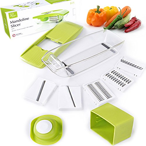 K BASIX Mandoline Slicer - Adjustable Vegetable Cutter, Grater & Slicer, With 5 Built-in Ultra Sharp Interchangeable Stainless Steel Blades, Food Storage, And Safe Hand Protector