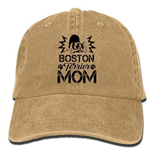 TZKDHCA Boston Terrier Mom Adjustable Cowboy Cap Denim Hat for Women and ()