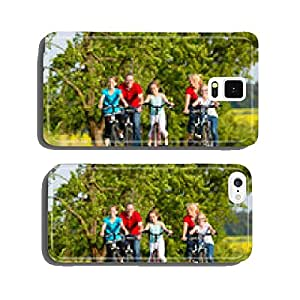 Family with kids cycling in summer with bicycles cell phone cover case Samsung S6
