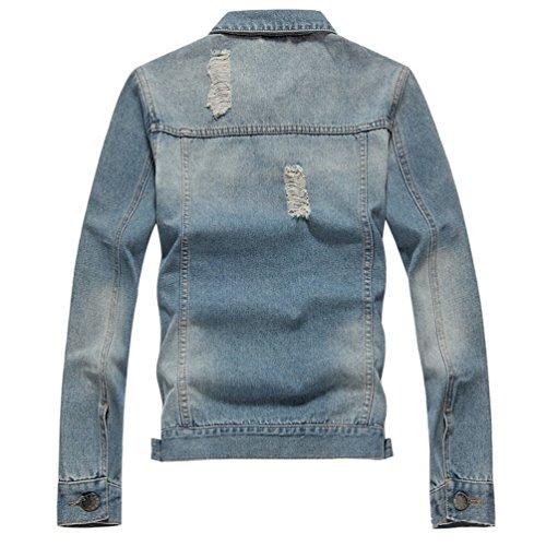 2 Lunga Jeans Sentao Outwear Giacca Stile Jacket Retro Manica Uomo Casual Da Ap8Pw