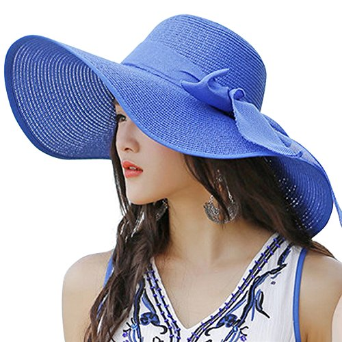 Lanzom Womens Big Bowknot Straw Hat Floppy Foldable Roll up Beach Cap Sun Hat UPF 50+ (Royal Blue)