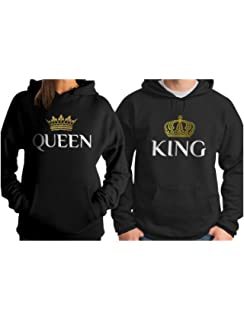 His and Hers Wedding Hoodies, King and Queen Set of Hoodies, His & Hers Wedding Gift, Embroidered Hoodies, Pink and Black