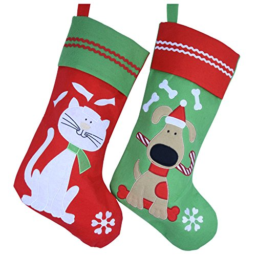 Wewill Lovely Embroidered Pets Pattern Christmas Stockings Dog or Cat 16-Inch Length (Dog)