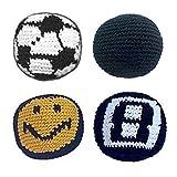 Hacky Sack Balls Bundle - Soccer Ball, Solid Black, Smiley Face, 8 Ball