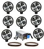 Kit of (8) HIGH PRESSURE - 18'' Oscillating Mist Fans