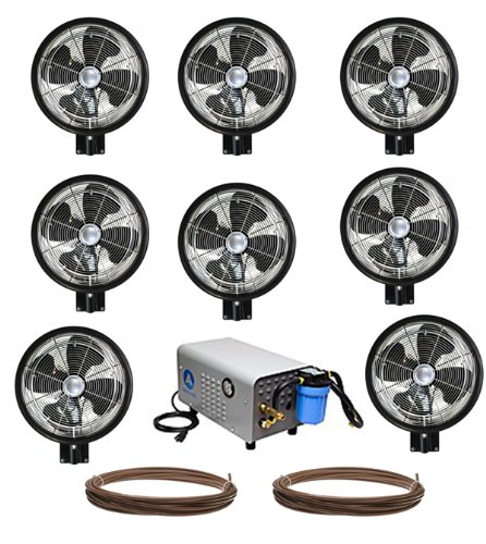 Kit of (8) HIGH PRESSURE - 18'' Oscillating Mist Fans by Advanced Systems