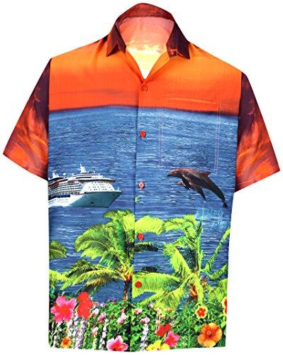 LA LEELA Men's Camp Hawaiian Shirt Button Down Up Swim Beachwear 3XL Orange_W559