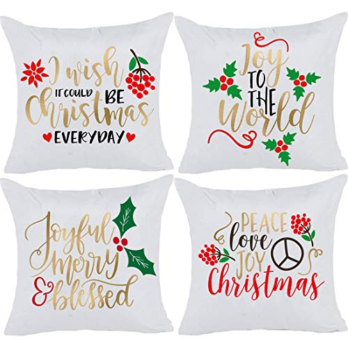 (Christmas Decorative Throw Pillow Covers - Gold Foil Print Metallic Shiny Decorative Cushion Covers Bronzing Flannelette Soft Pillowcase Home Decor Gift 18 x 18 inch Set of 4)