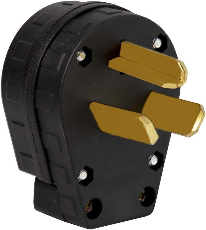 Nema 10-30P Plug 30 Amp 125/250 Volt Angle Plug, 3 Pole 3 Wire Grounding Straight Blade Plug for Dyer and Ranges LK3331
