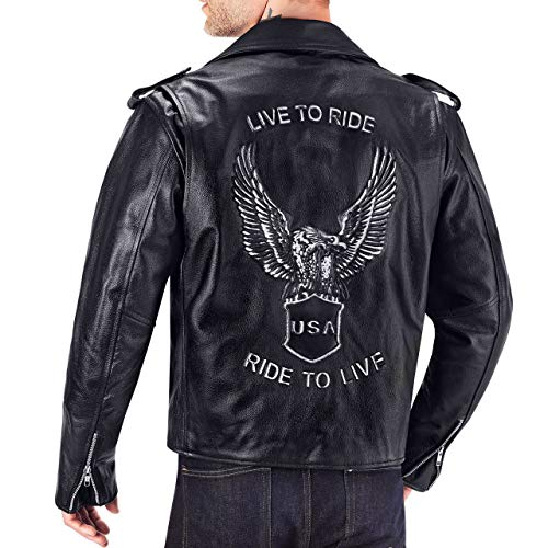 Viking Cycle American Eagle Premium Grade Cowhide Leather Motorcycle Jacket for Men (3XL)