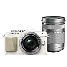 Olympus PEN Lite E-PL7 16MP Compact System Camera with 3-Inch LCD with EZ Double Zoom Kit with 12-42mm f/3.5-5.6 + 40-150mm f/4-5.6 (White, E-PL7 EZ DZKIT WHT) - International Version (No Warranty)