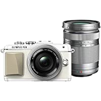 Olympus PEN Lite E-PL7 (White) with 14-42mm EZ and 40-150mm Lens (Silver) - International Version (No Warranty)