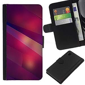 KLONGSHOP // Tirón de la caja Cartera de cuero con ranuras para tarjetas - Moderno Formas Arte Líneas Púrpura Rojo - Sony Xperia Z1 L39 //
