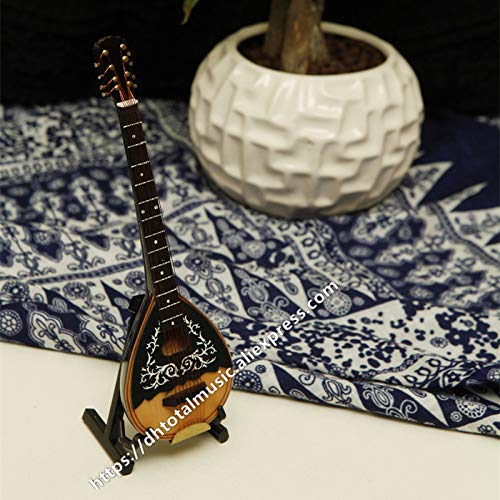 ZAMTAC Dh Miniature Mandolin Model Replica with Stand and Case Dollhouse Accessories Mini Musical Instrument Ornaments (Size: 18cm)
