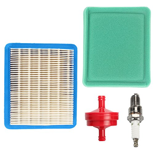 Savior 491588S Air Filter 491435S Pre Filter with Fuel Filter Spark Plug for Briggs and Stratton 491588 4915885 399959 4101 5043B 5043D 5043H 5043K 491435 271933 30-927 John Deere LG491588JD - Plug Troy