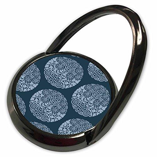 3dRose Russ Billington Patterns - Block Print Style Circular Grape Vine and Flowers in Tonal Blue - Phone Ring (Tonal Block)