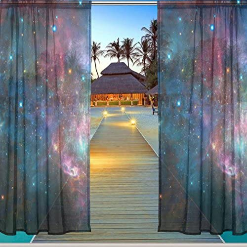 ALAZA Window Sheer Curtain Panels,Christmas Decoration Universe Galaxy Nebula Space Planet,Door Window Gauze Curtains Living Room Bedroom Kid Office Window Curtain 55x84inch Two Panels Set Star 61