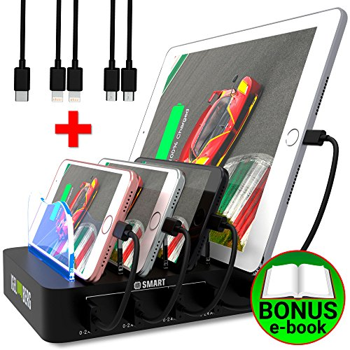 USB Charging Station - Fast Charging Dock - 4-Port - Cell Phone Tablet IPad IPhone Docking Station for Android IOS Devices - Multiple Charging Station - Charger Dock - Multi Charging Station Organizer (Station Charging Port 4)