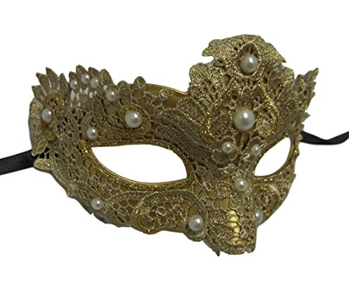 MGPS Gold Pearl Macrame Brocade Lace Venetian Masquerade Mardi Gras Mask - Adult Gold And Beads Venetian Mask