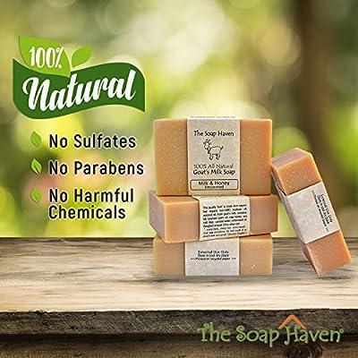 Handmade Goat Milk & Honey Soap - All Natural, Fragrance Free, Fresh Goat Milk Soap (4 Bar Pack). Wonderful for Eczema, Psoriasis & sensitive skin. SLS & Paraben Free. Handmade in USA.