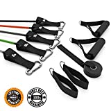 Resistance Exercise Bands :: Rubber Stretch Fitness Training Band Set Comes with Leg Straps, Handles & Door Anchor :: Includes Bonus E-Book
