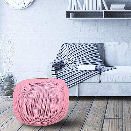 AZK Round Dori Pouf Ottoman,Hand Knit Modern Floor Pouf Round Footstool,Handmade & Hand Stitched,Pouffe seat for Living Room, Bedroom, Nursery, kidsroom, Patio, 100% Cotton Braid Cord, Pink Pouf