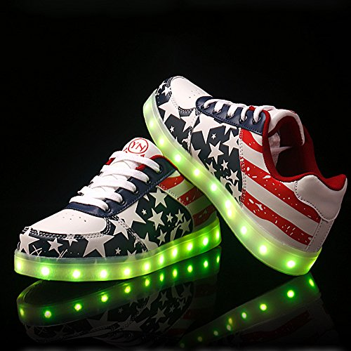 Lumineuse LED Lumière Basket Chaussures Couleurs Homme USB 7 Basket Mode DoGeek LED Chargeur Femme 5xHwYn5q