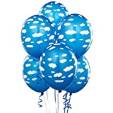 BirthdayExpress Mid Blue with Clouds Matte Balloons (6)