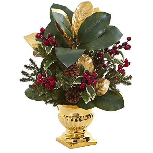 """Nearly Natural 1556 20"""" Magnolia Leaf & Holly Berry Arrangement in Gold Urn Artificial Plant, Green"""