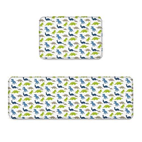 Happy Sunday 2 pcs Kitchen Mat Doormat Runner Rug Set, Kids Area Rug Bedroom Rug Non-Slip Rubber Backing Door Mats Custom Carton Grey Blue Green Dinosaur 15.7'' x 23.6'' +15.7'' x47.2'' (Custom Carton)