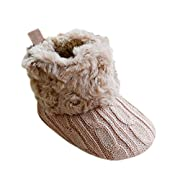 Weixinbuy Baby Girls Knit Soft Fur Winter Snow Boots Crib Shoes Khaki 0-6M