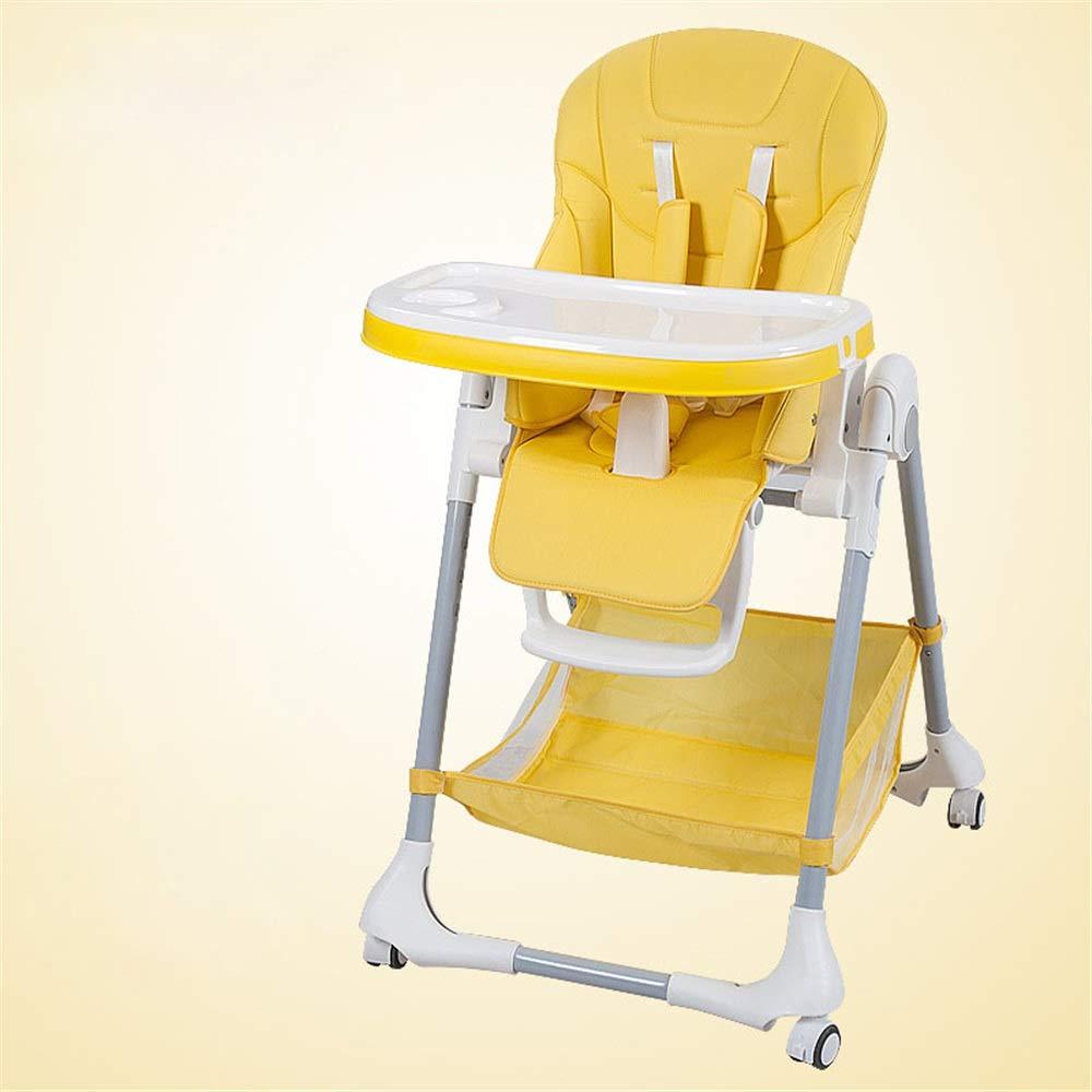 完璧な調節可能なベビーハイチェア 子供の世話をするのに良いアシスタントチャイルドアシスタントベビーブースターシートハイチェアポータブルキッズディナーチェア付きトレイフィードプレートテーブル滑り止め安全で快適な調節可能な高さ折りたたみ式フィードベビー用幼児子供 (色 : 黄)  黄 B07R1JRG36