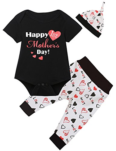 Little Fancy Baby Boys' Happy 1st Monther's Day Outfit Set Romper Bear Pants with Hat