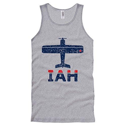 Smash Vintage Men's Fly Houston IAH Airport Tank Top - Heather Gray, - Iah Shops Airport