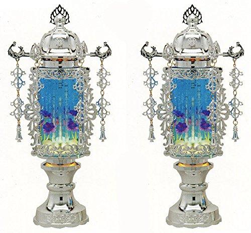 【バブル灯】霊前灯 7号バブル灯プラチナブルーヨーラク付:一対【盆提灯】 B011KMNN6O